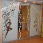 Шкафы купе с пескоструйным рисунком на заказ фото 1